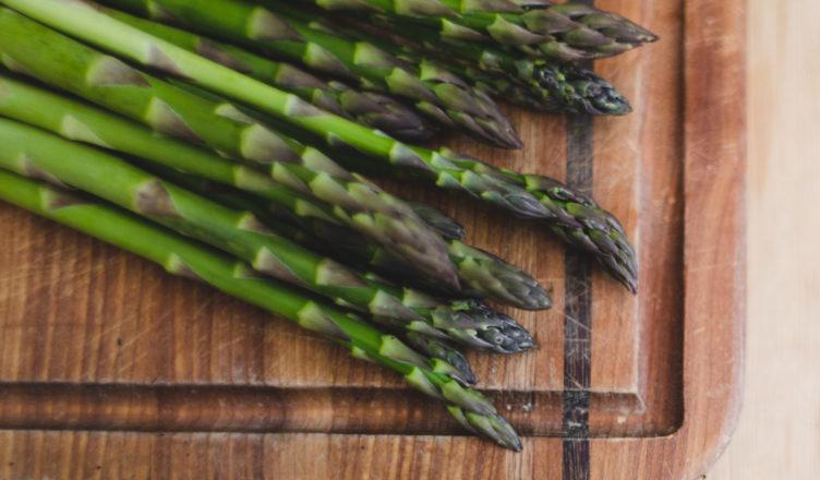 Asparagus on a board